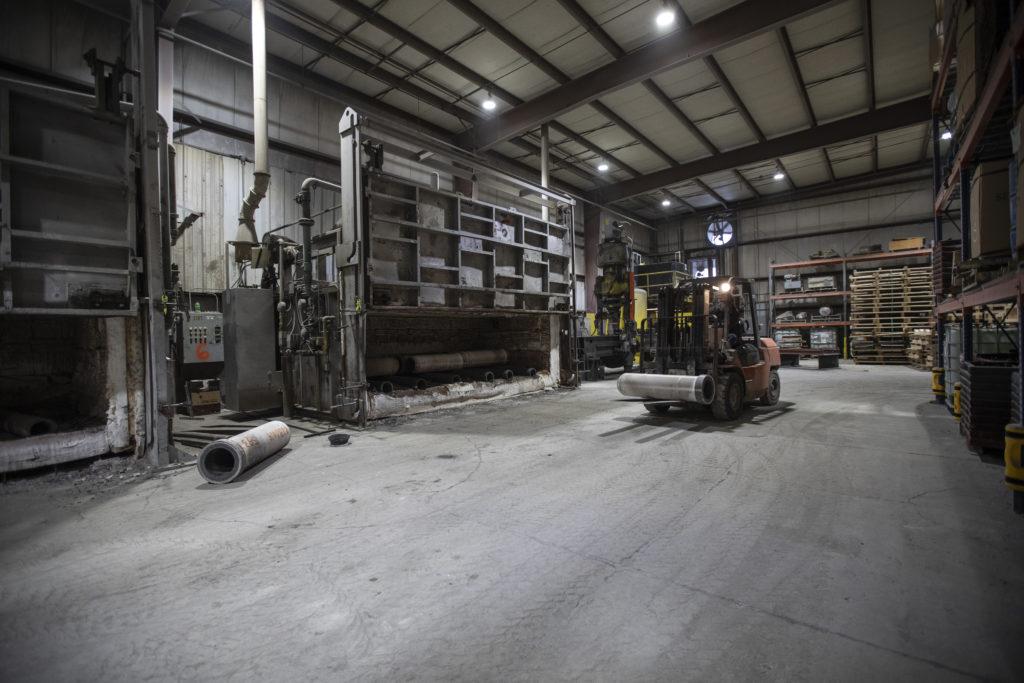 A lift machine in Spuncast's warehouse.