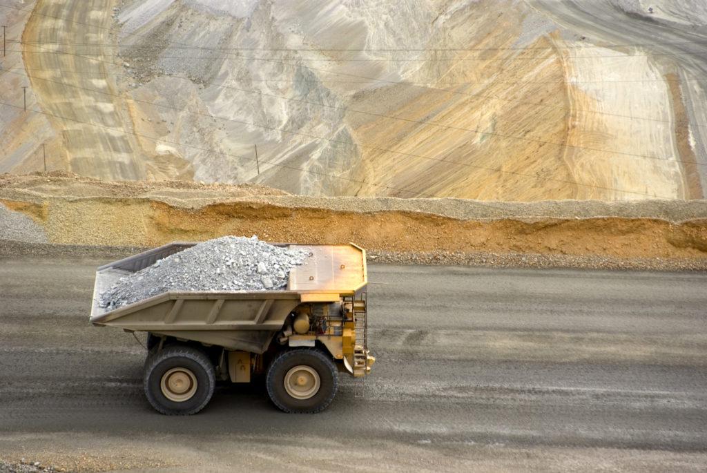 A mining dump truck.