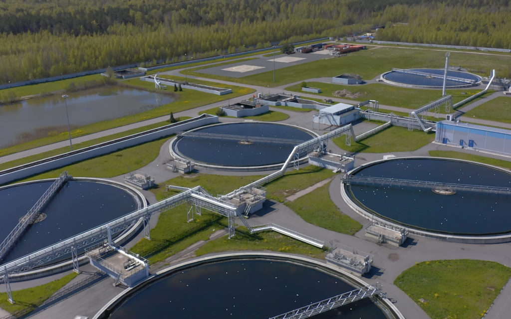 An aerial view of a wastewater treatment plant.